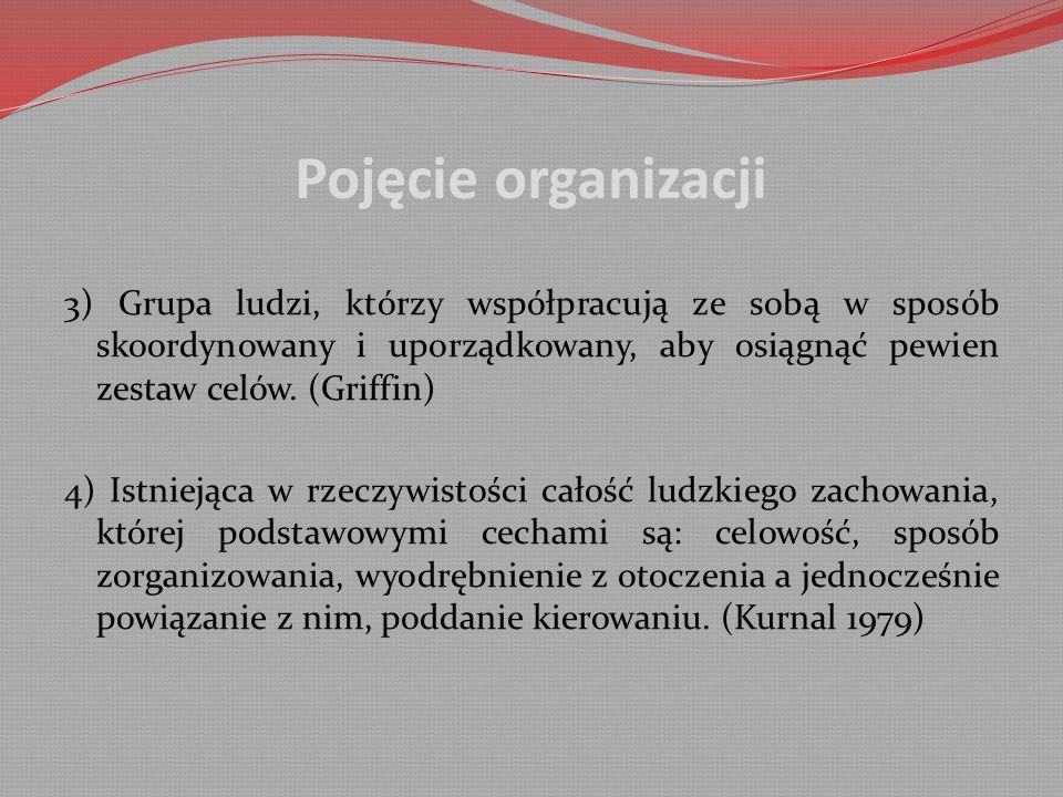 Pojęcie organizacji 3) Grupa ludzi, którzy współpracują ze sobą w sposób skoordynowany i uporządkowany, aby osiągnąć pewien zestaw celów. (Griffin)