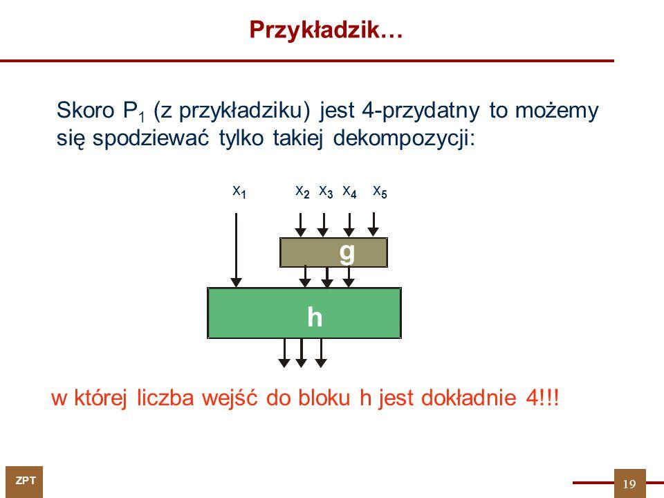 Przykładzik… Skoro P1 (z przykładziku) jest 4-przydatny to możemy się spodziewać tylko takiej dekompozycji: