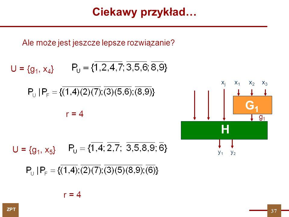 G1 H Ciekawy przykład… U = {g1, x4} r = 4 U = {g1, x5} r = 4