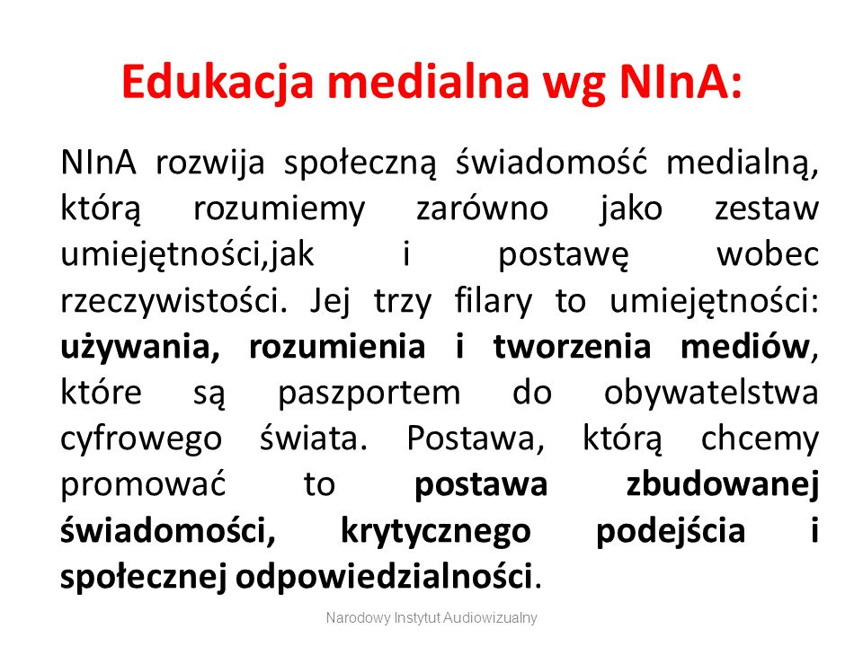 Edukacja medialna wg NInA: