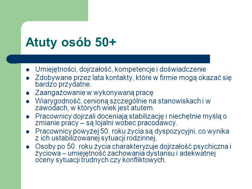 Atuty osób 50+ Umiejętności, dojrzałość, kompetencje i doświadczenie