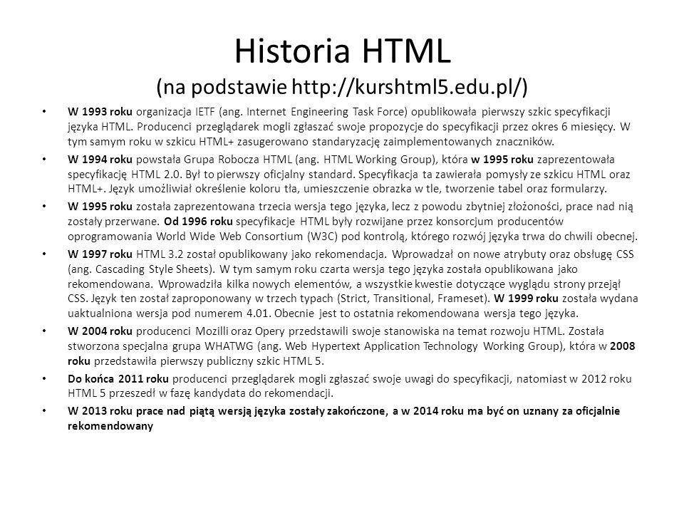 Historia HTML (na podstawie http://kurshtml5.edu.pl/)