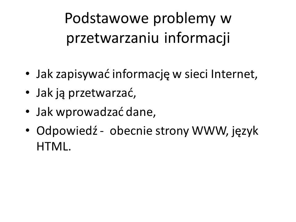 Podstawowe problemy w przetwarzaniu informacji