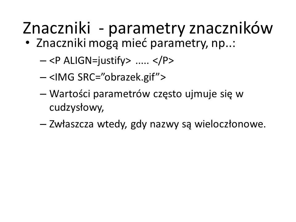 Znaczniki - parametry znaczników