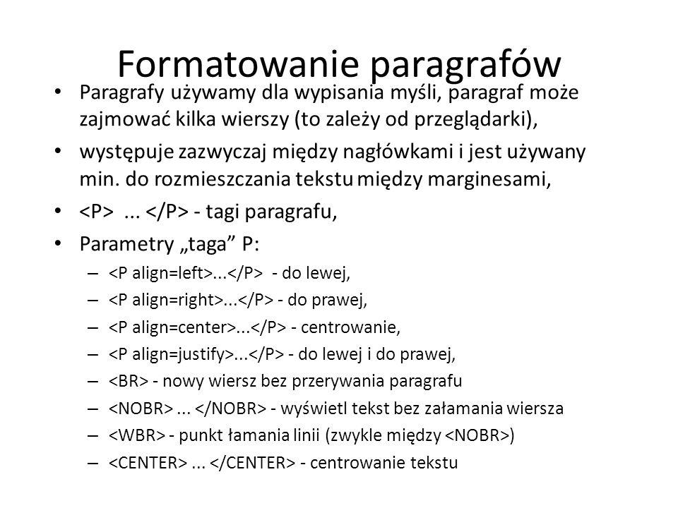 Formatowanie paragrafów