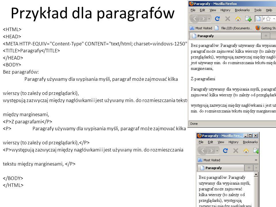 Przykład dla paragrafów