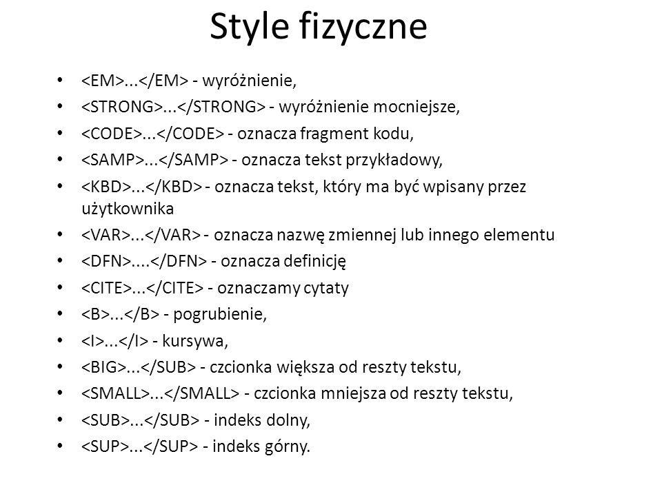 Style fizyczne <EM>...</EM> - wyróżnienie,