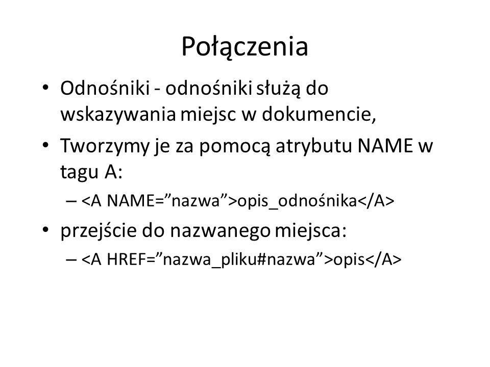 Połączenia Odnośniki - odnośniki służą do wskazywania miejsc w dokumencie, Tworzymy je za pomocą atrybutu NAME w tagu A: