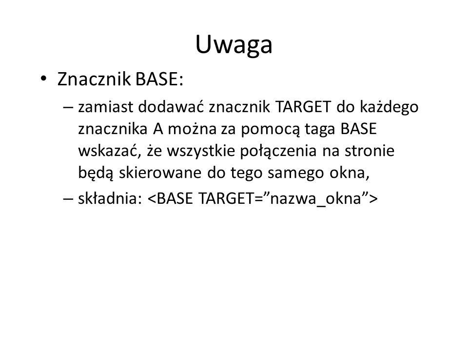 Uwaga Znacznik BASE: