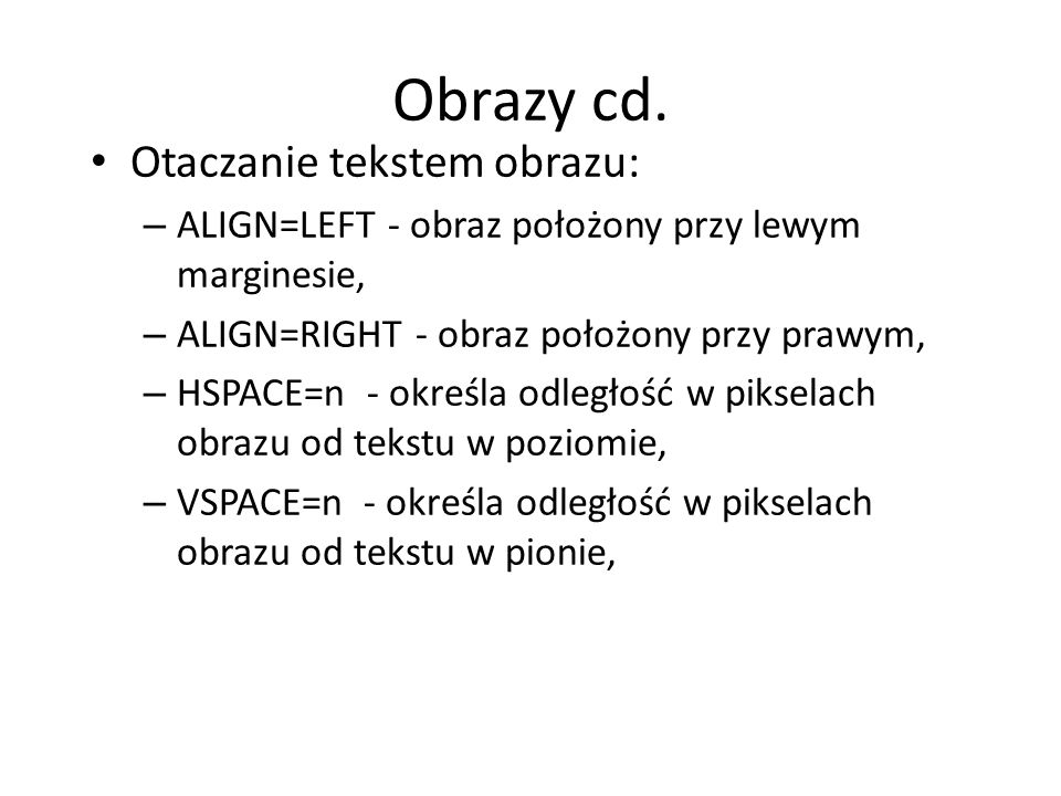 Obrazy cd. Otaczanie tekstem obrazu: