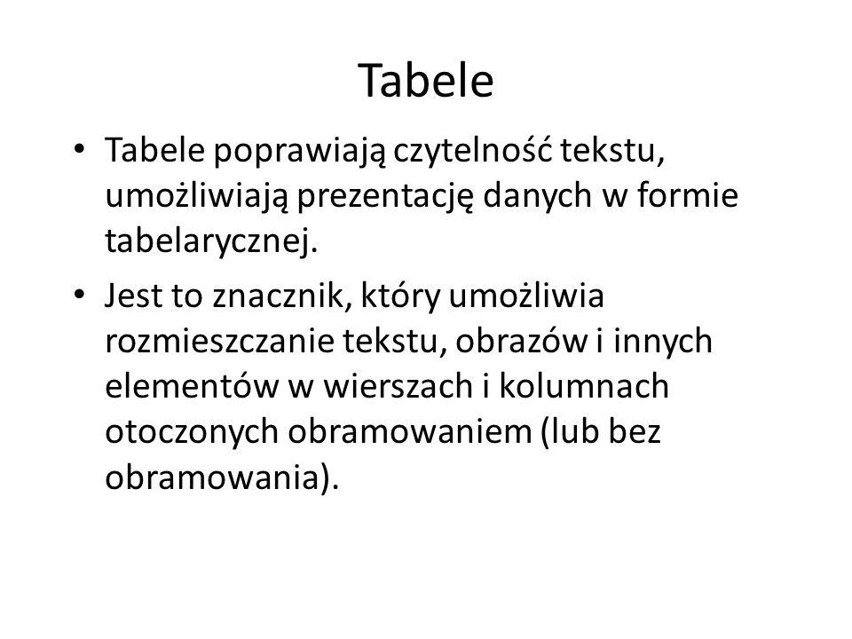 Tabele Tabele poprawiają czytelność tekstu, umożliwiają prezentację danych w formie tabelarycznej.