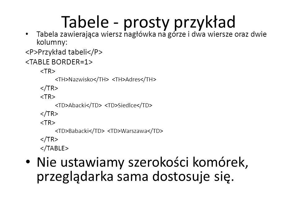 Tabele - prosty przykład