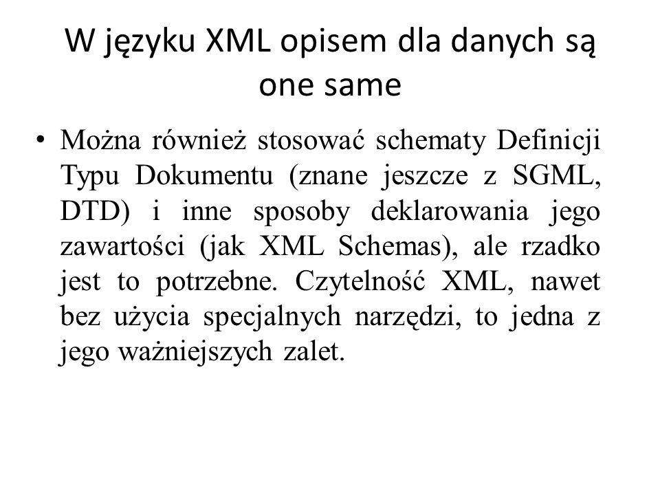 W języku XML opisem dla danych są one same
