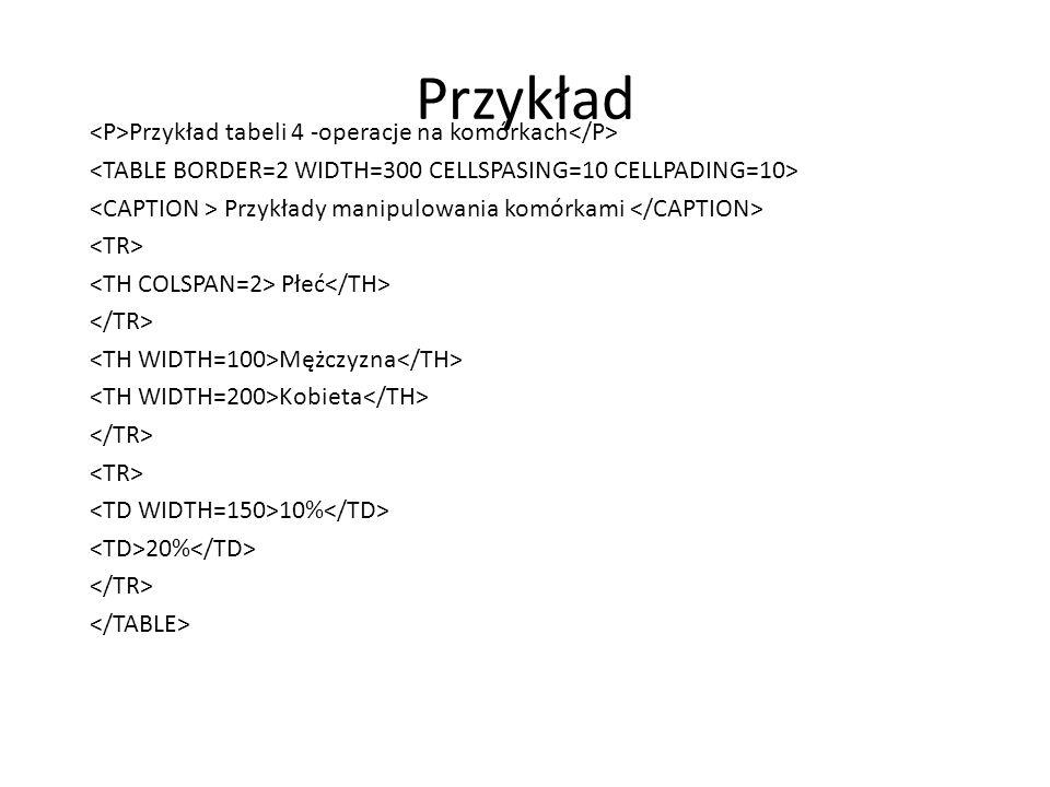 Przykład <P>Przykład tabeli 4 -operacje na komórkach</P>