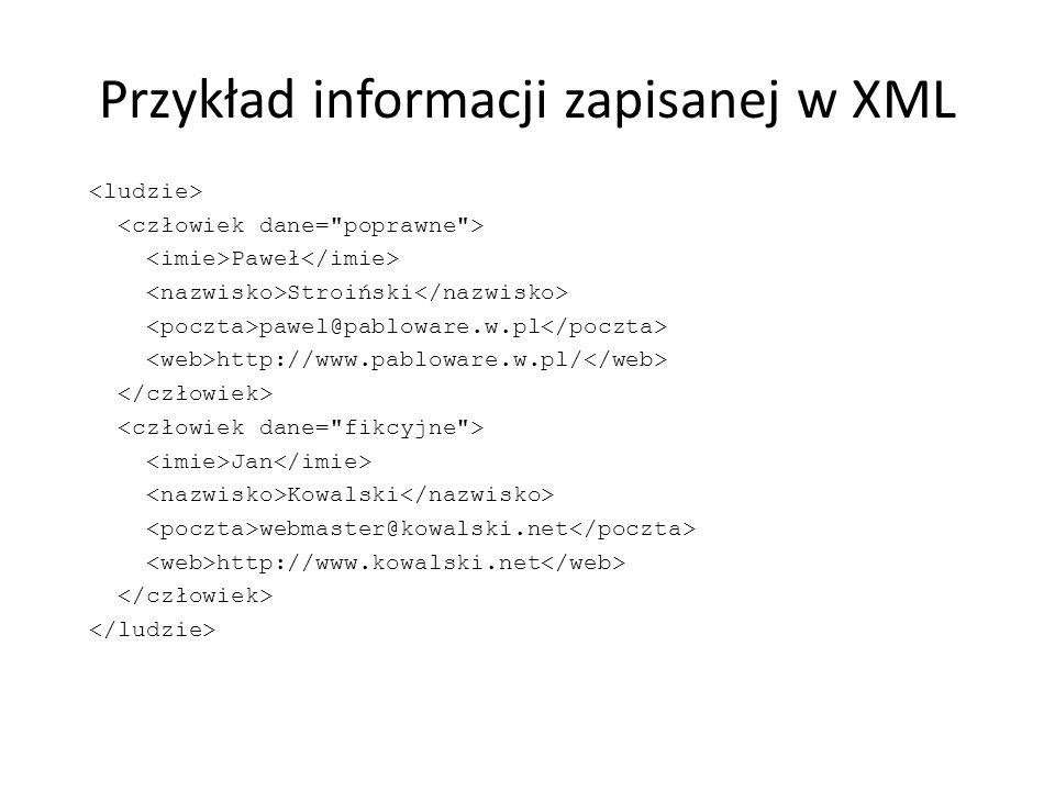 Przykład informacji zapisanej w XML
