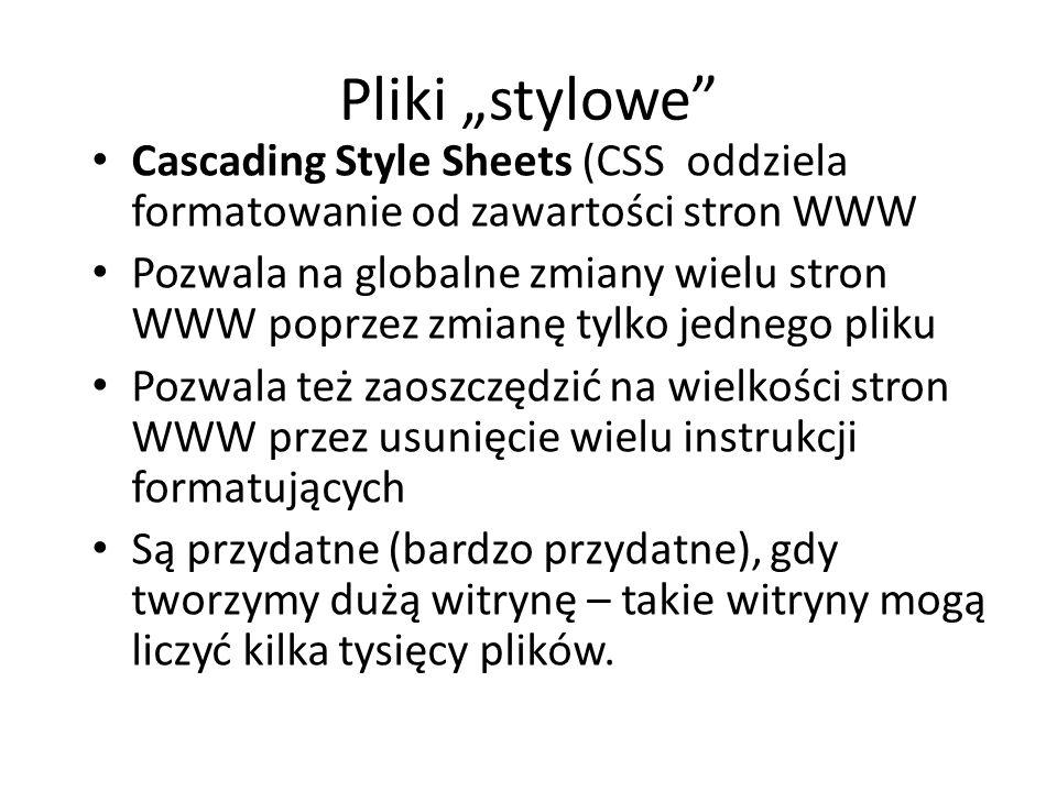 """Pliki """"stylowe Cascading Style Sheets (CSS oddziela formatowanie od zawartości stron WWW."""