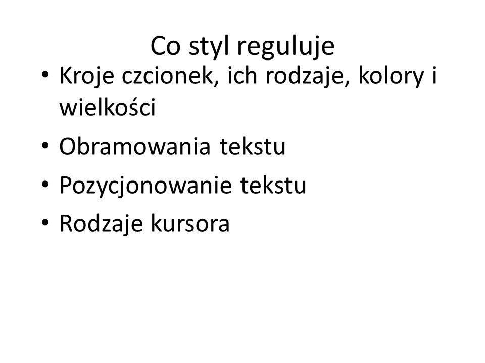 Co styl reguluje Kroje czcionek, ich rodzaje, kolory i wielkości