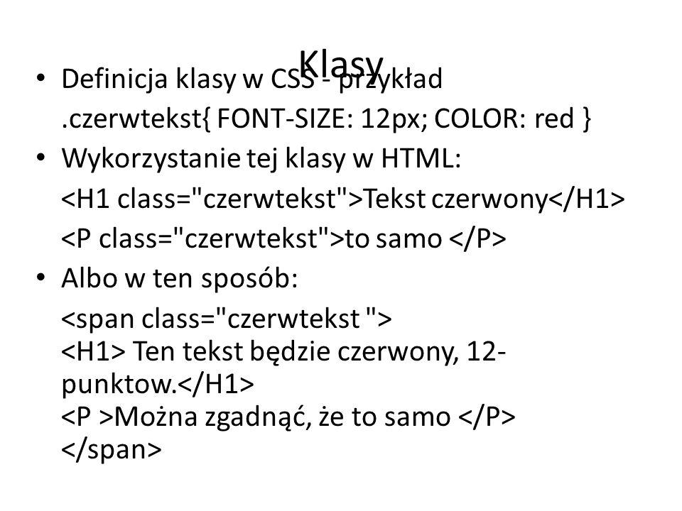Klasy Definicja klasy w CSS - przykład