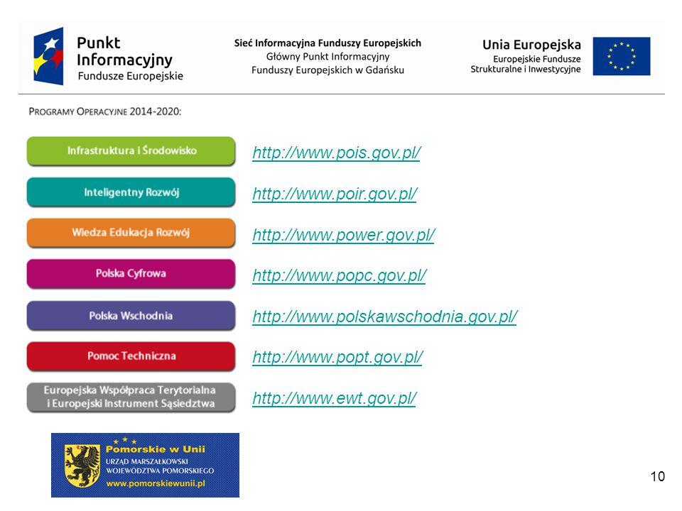 http://www.pois.gov.pl/ http://www.poir.gov.pl/ http://www.power.gov.pl/ http://www.popc.gov.pl/ http://www.polskawschodnia.gov.pl/
