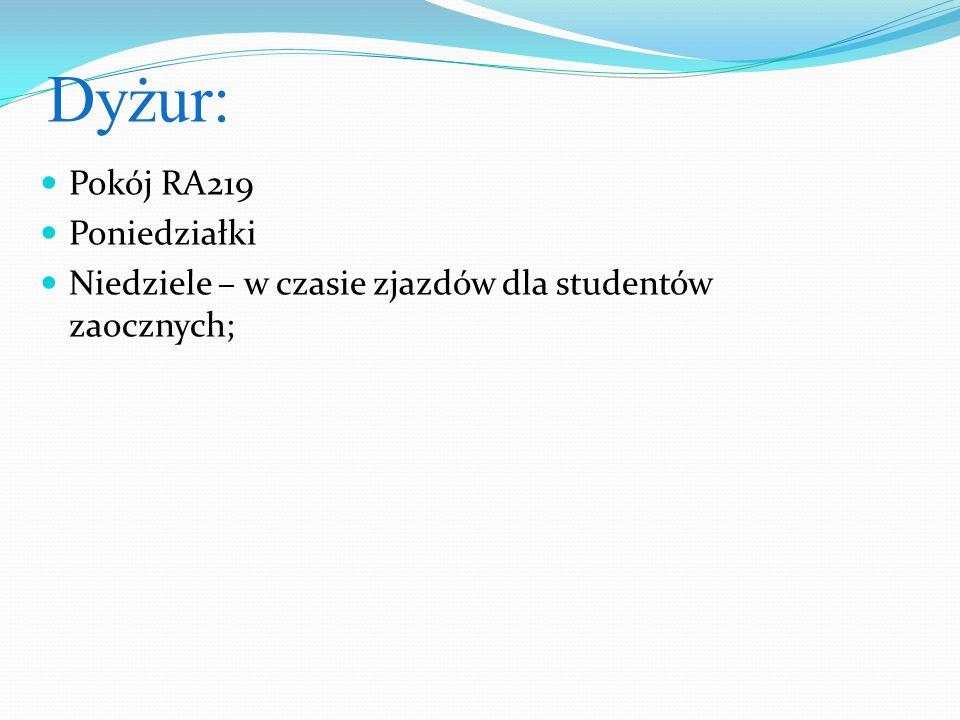 Dyżur: Pokój RA219 Poniedziałki