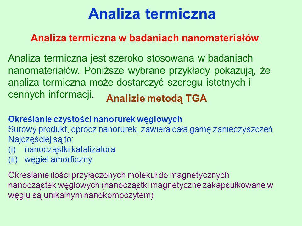 Analiza termiczna Analiza termiczna w badaniach nanomateriałów