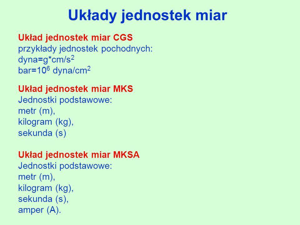 Układy jednostek miar Układ jednostek miar CGS