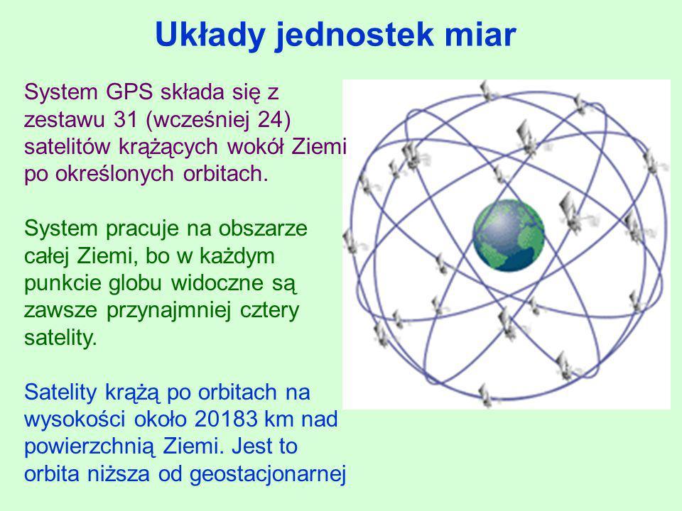 Układy jednostek miar System GPS składa się z zestawu 31 (wcześniej 24) satelitów krążących wokół Ziemi po określonych orbitach.