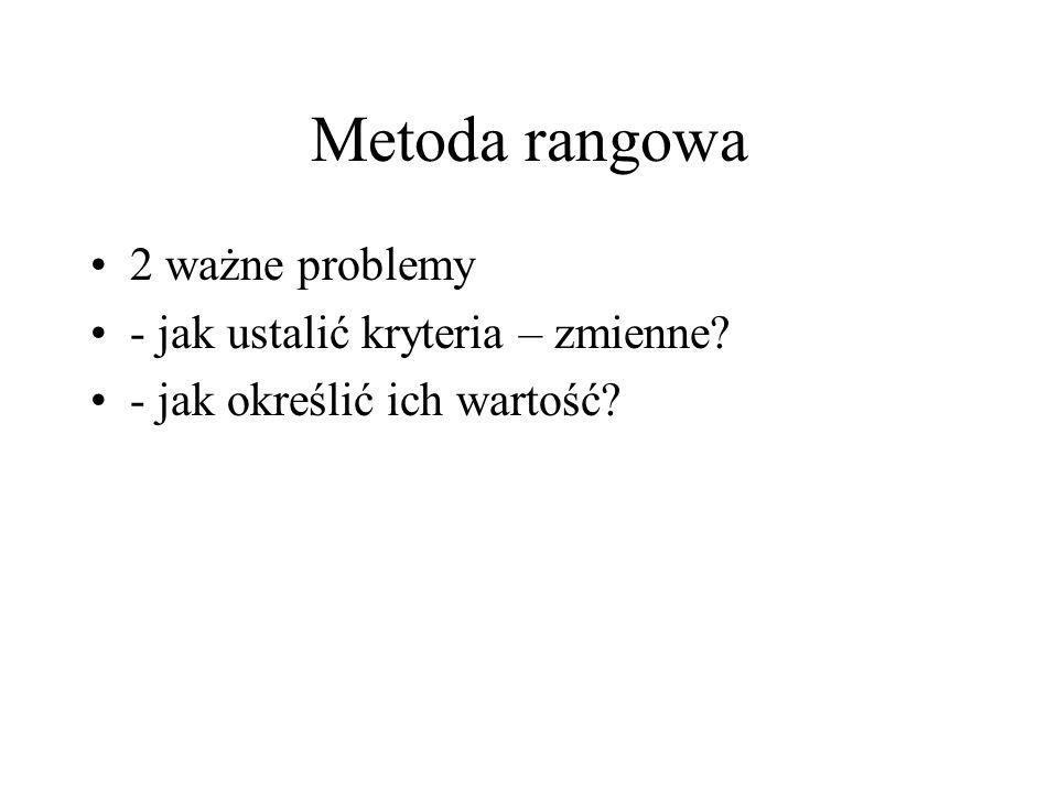 Metoda rangowa 2 ważne problemy - jak ustalić kryteria – zmienne