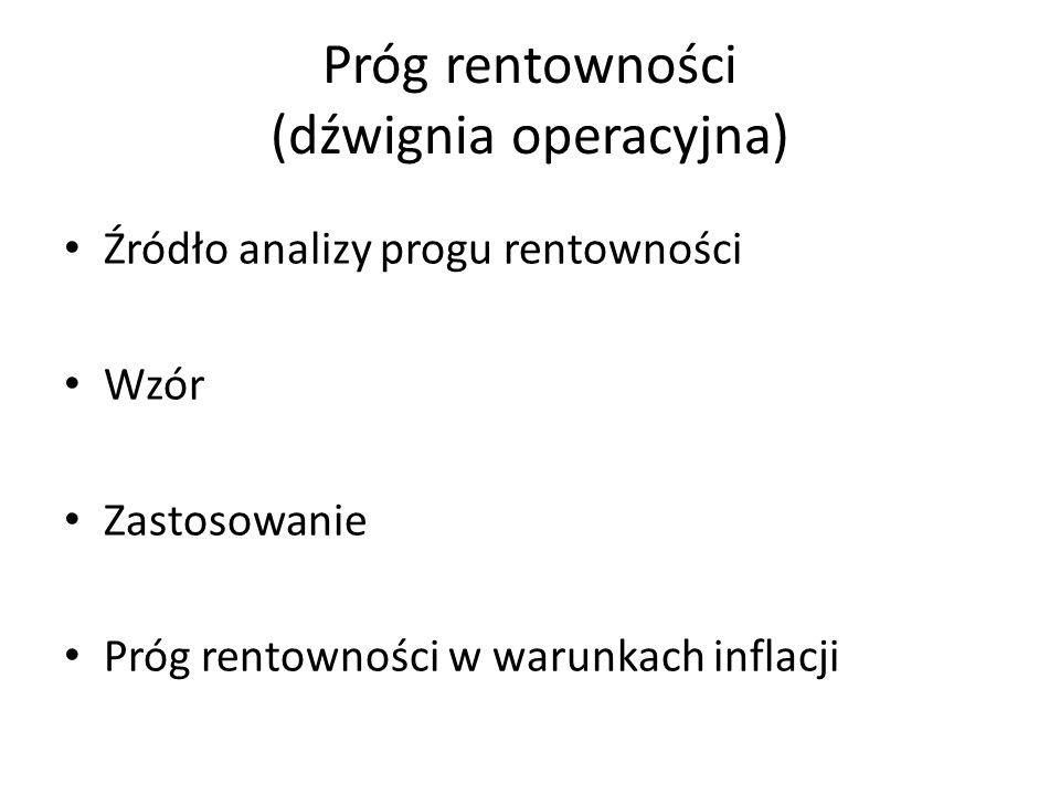 Próg rentowności (dźwignia operacyjna)