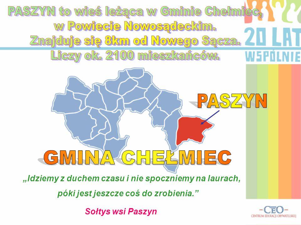 PASZYN to wieś leżąca w Gminie Chełmiec, w Powiecie Nowosądeckim.