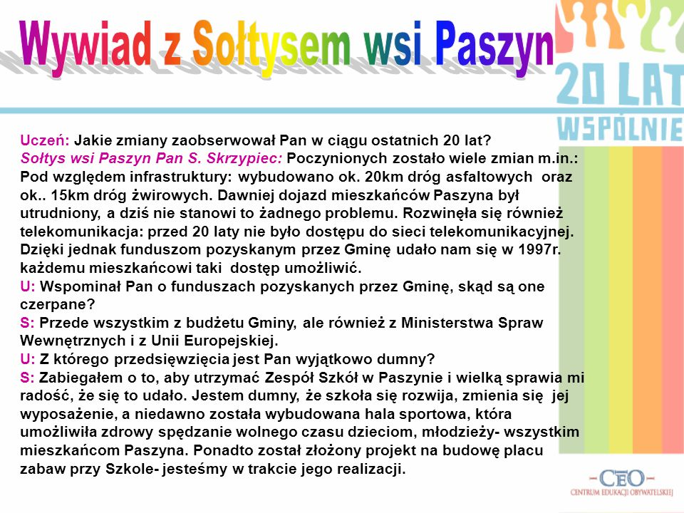 Wywiad z Sołtysem wsi Paszyn