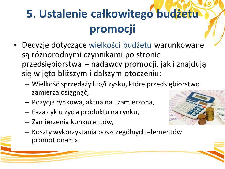 5. Ustalenie całkowitego budżetu promocji