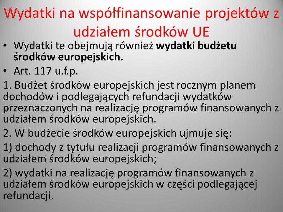 Wydatki na współfinansowanie projektów z udziałem środków UE