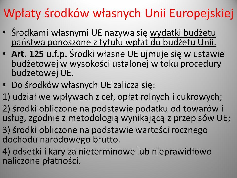Wpłaty środków własnych Unii Europejskiej