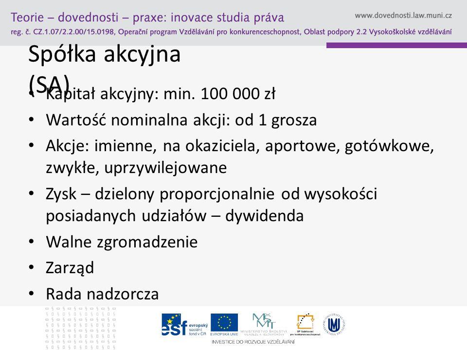 Spółka akcyjna (SA) Kapitał akcyjny: min. 100 000 zł