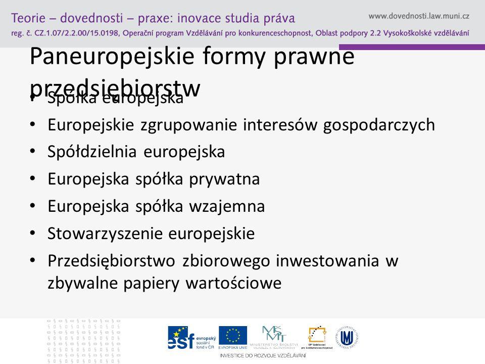 Paneuropejskie formy prawne przedsiębiorstw