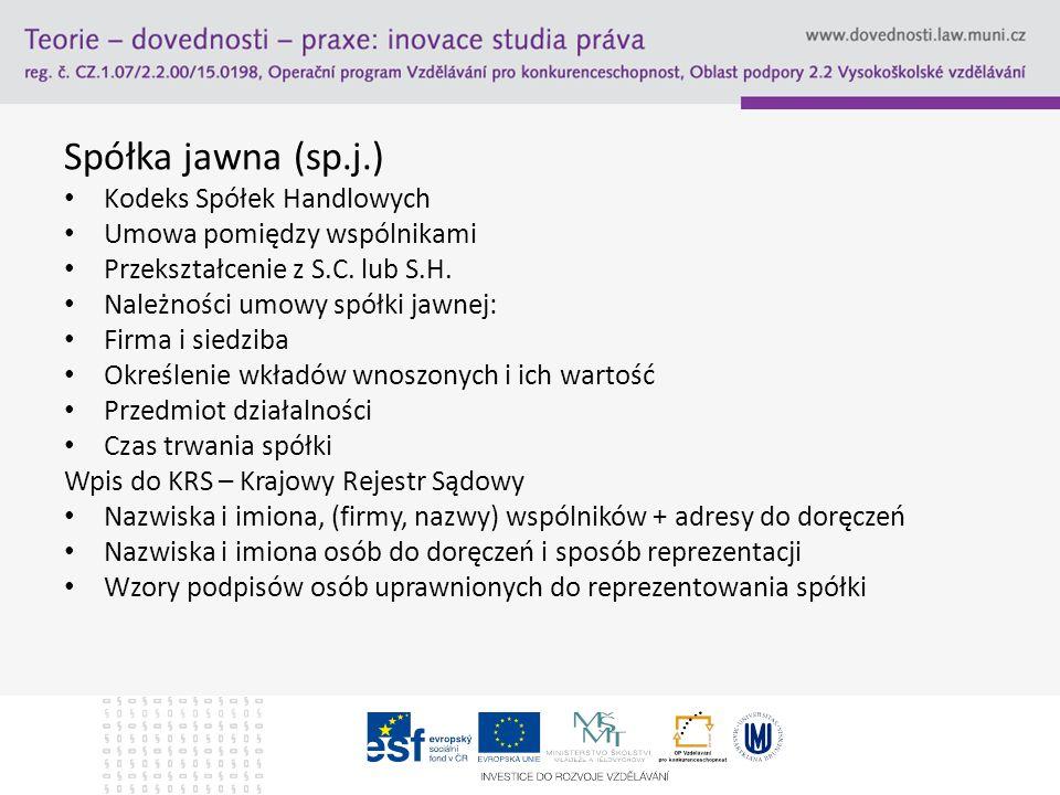 Spółka jawna (sp.j.) Kodeks Spółek Handlowych