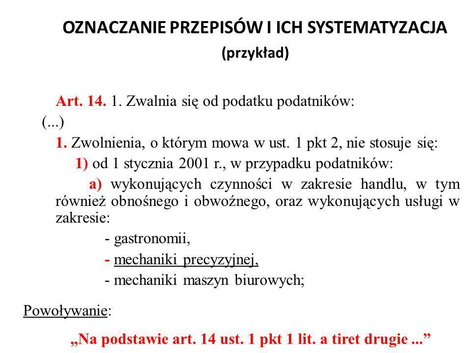 OZNACZANIE PRZEPISÓW I ICH SYSTEMATYZACJA (przykład)