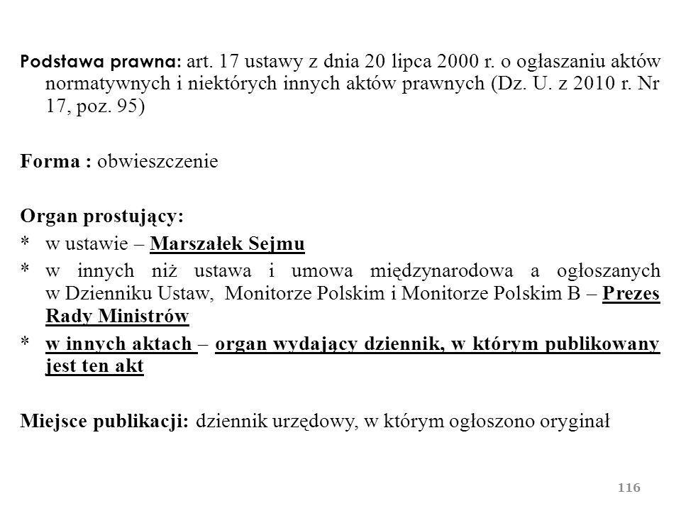 * w ustawie – Marszałek Sejmu