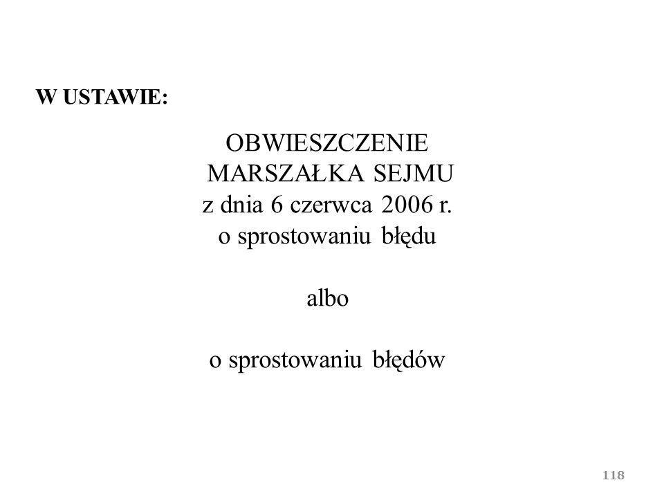 OBWIESZCZENIE MARSZAŁKA SEJMU z dnia 6 czerwca 2006 r.