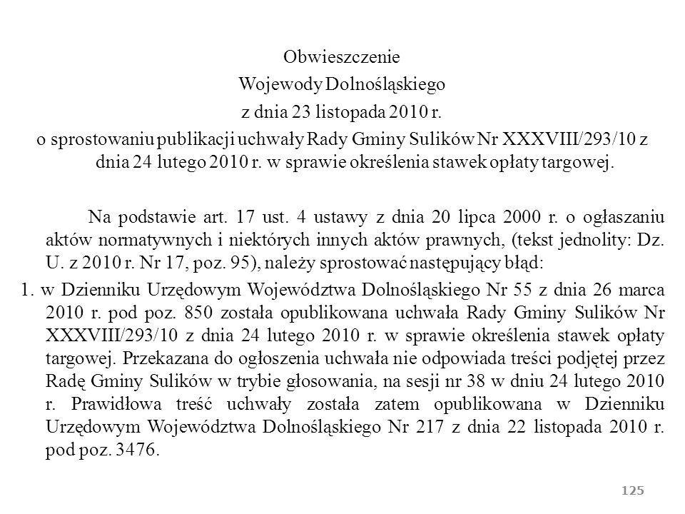 Obwieszczenie Wojewody Dolnośląskiego z dnia 23 listopada 2010 r