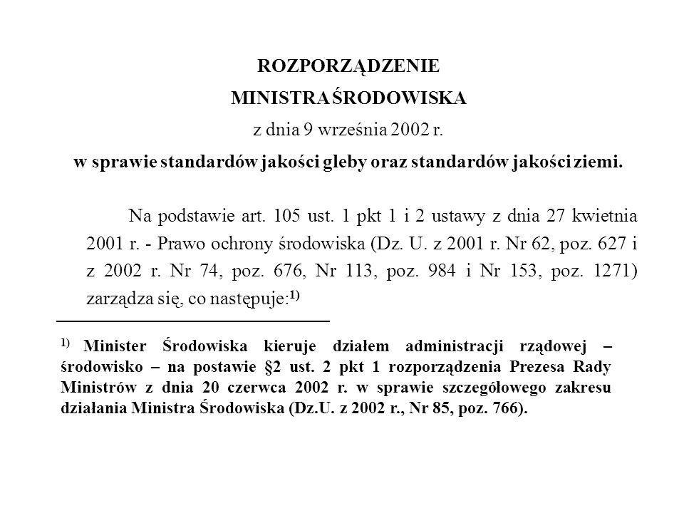 ROZPORZĄDZENIE MINISTRA ŚRODOWISKA z dnia 9 września 2002 r