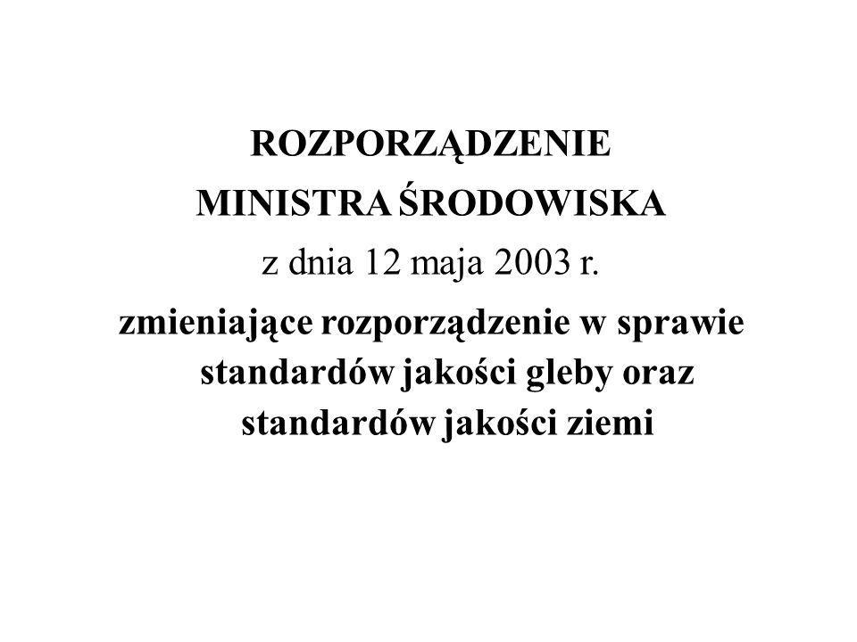 ROZPORZĄDZENIE MINISTRA ŚRODOWISKA z dnia 12 maja 2003 r