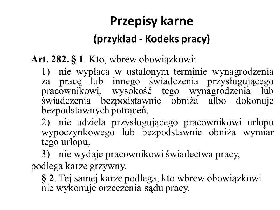 Przepisy karne (przykład - Kodeks pracy)