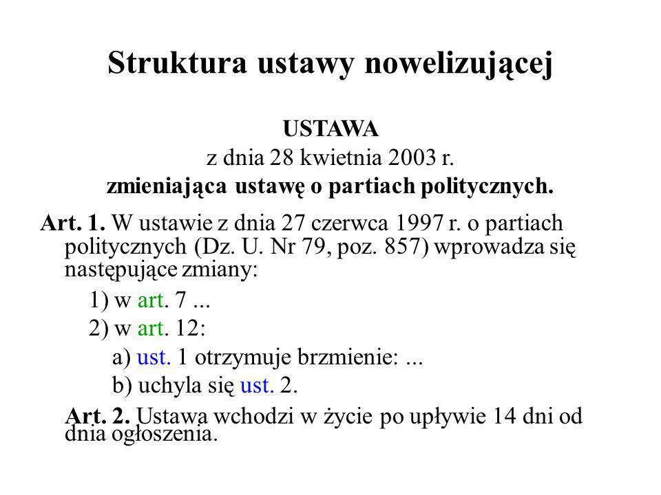 Struktura ustawy nowelizującej