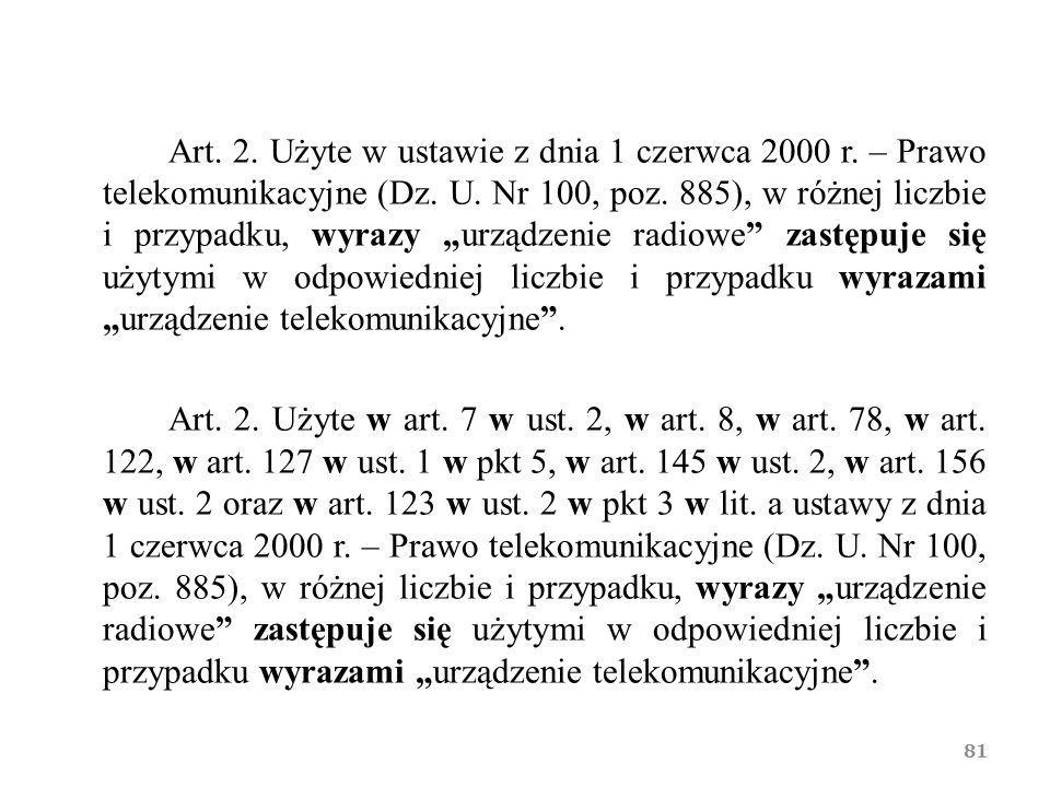 Art. 2. Użyte w ustawie z dnia 1 czerwca 2000 r