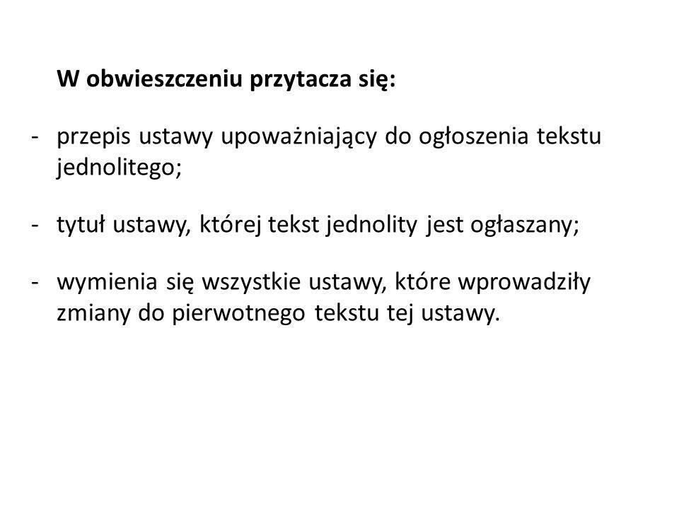 przepis ustawy upoważniający do ogłoszenia tekstu jednolitego;