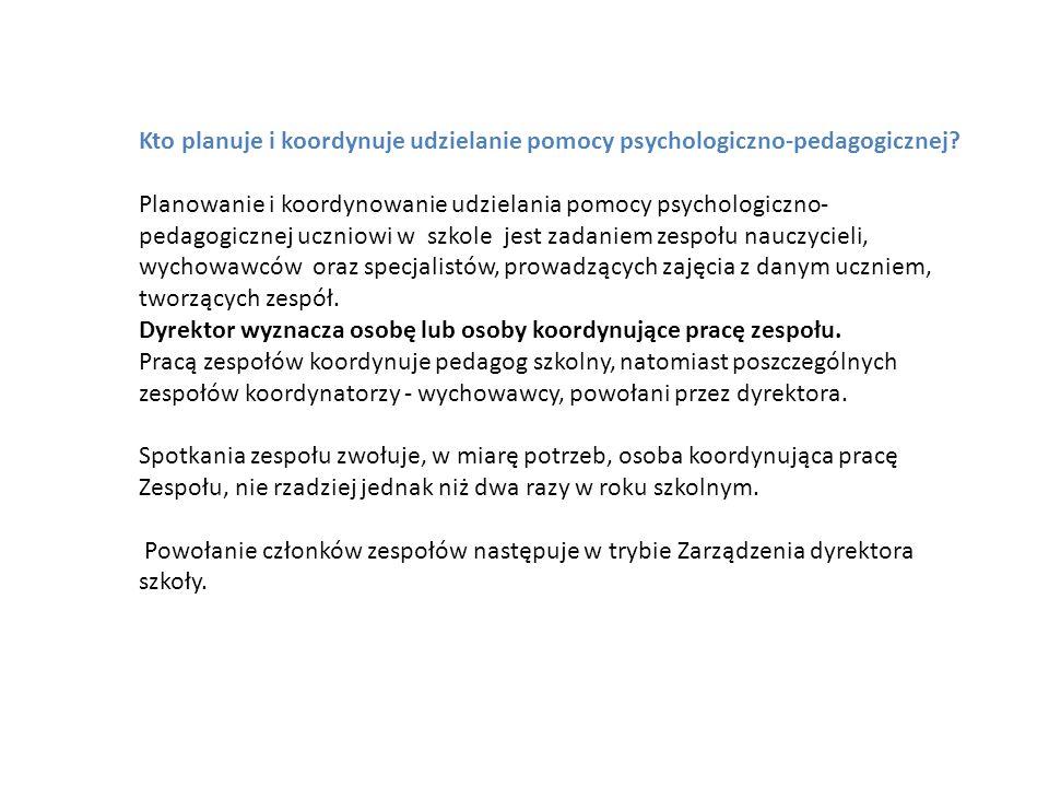 Kto planuje i koordynuje udzielanie pomocy psychologiczno-pedagogicznej