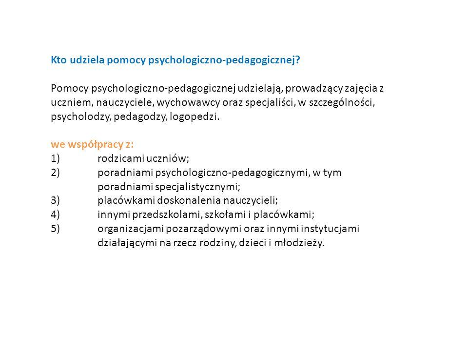 Kto udziela pomocy psychologiczno-pedagogicznej