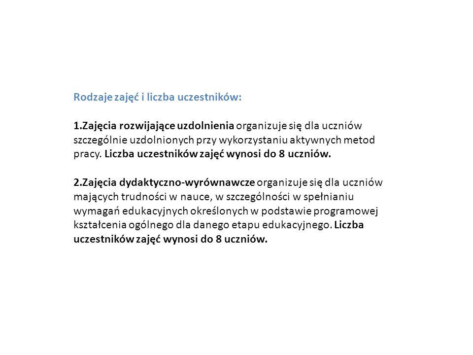 Rodzaje zajęć i liczba uczestników: